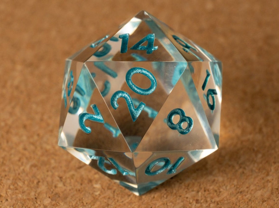Crystal clear D20 w/metallic light teal ink