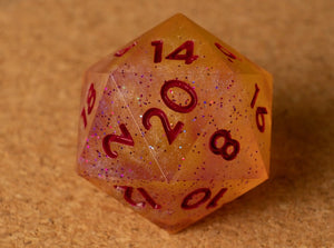 Pale pink lemonade D20 w/glitter & dark magenta ink