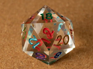 Crystal clear D20 w/metallic rainbow ink (#2)