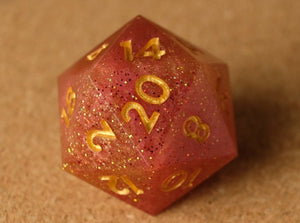 Red+Gold D20 w/Red+gold glitter & metallic gold ink