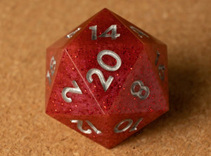 Red D20 w/metallic silver ink