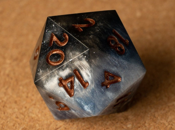 Black +Blue +White layered effect D20 w/burnished copper ink
