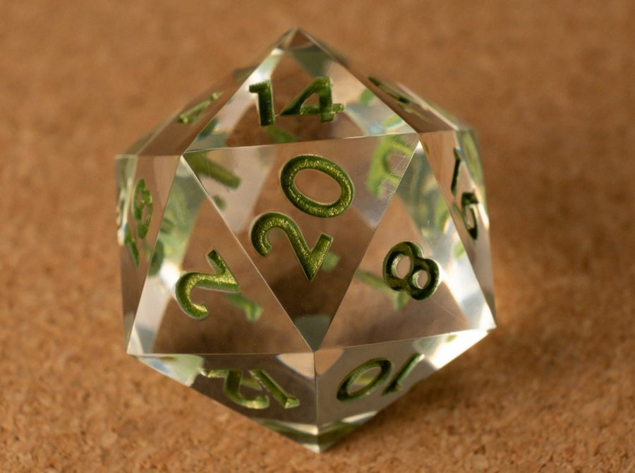 Crystal clear D20 w/metallic green ink