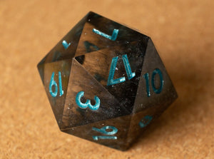 Black onyx smoke effect D20 w/metallic light teal ink