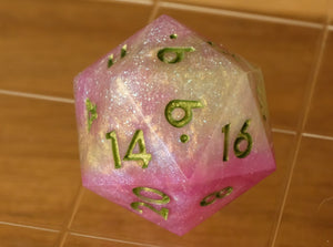 Fuchsia +Green +Clear swirl effect D20 w/holographic glitter & metallic green ink