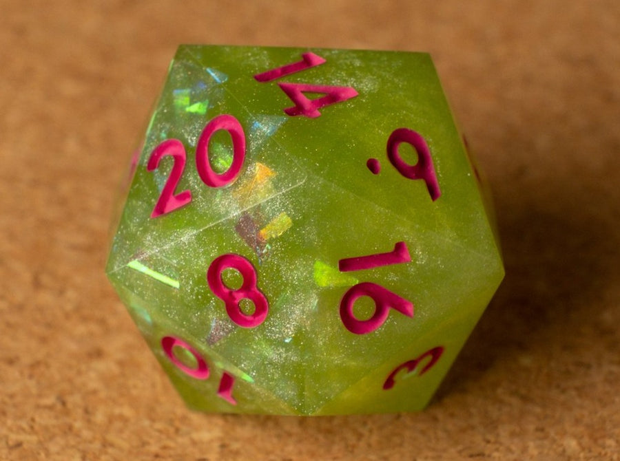 Green apple D20 w/iridescent flakes & matte hot pink ink