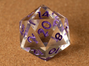 Crystal clear D20 w/metallic purple ink
