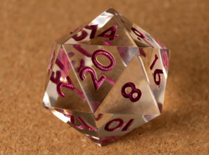 Crystal clear D20 w/metallic magenta ink