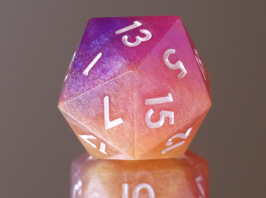 Layered Sunset (purple, pink, orange, yellow)D20 w/golden pearl ink