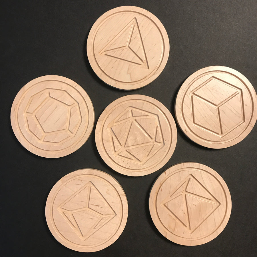 Maple Polyhedral Dice Coasters (set of 6)