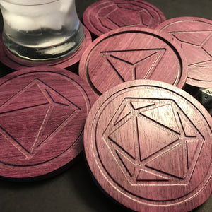 Purpleheart Polyhedral Dice Coasters (set of 6)