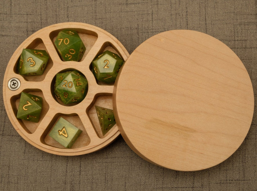 Birch Dice Box w/rolling tray lid (top view w/lid exterior)