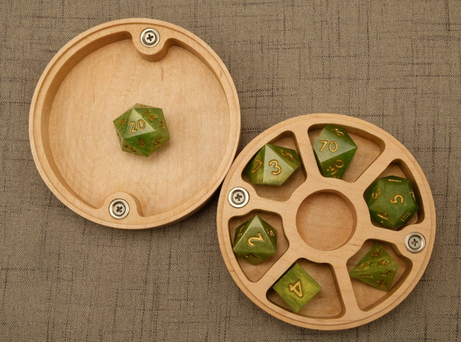 Birch Dice Box w/rolling tray lid (top view w/lid interior)