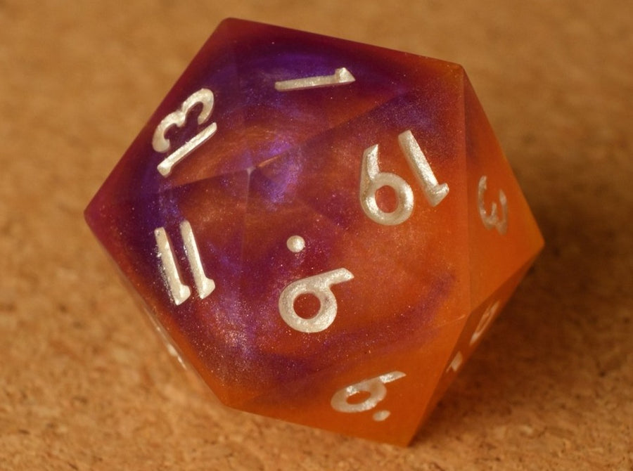Sunset Swirl (yellow, orange, pink, & purple) D20 w/golden pearl ink