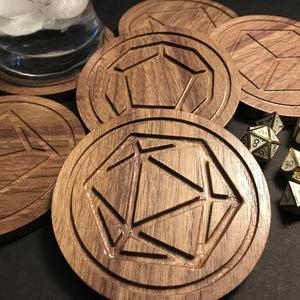 Walnut Polyhedral Dice Coasters (set of 6)