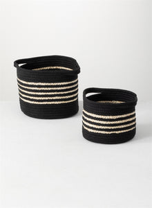 Black Natural Strip Basket