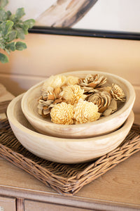 Hand Carved Round Wooden Bowls