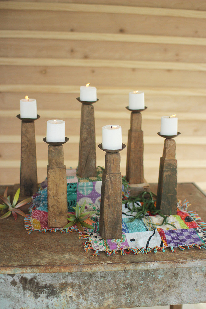 Repurposed Furniture Leg Candle Stands