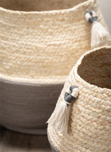 Load image into Gallery viewer, Grey & White Woven Basket