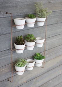 White Wash Pots on Copper Wall Rack