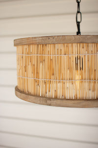 Wooden Pendant Light with Cane Detail