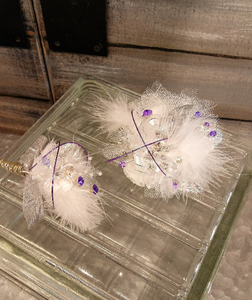Feather White & Purple Corsage Set