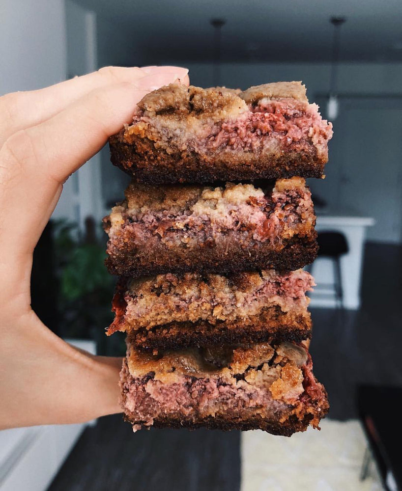 Sunflower Butter and Strawberry Chia Seed Jam Bars - Vegan & Gluten-Free