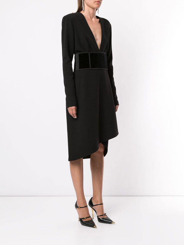 TOM FORD Asymmetric Drape Midi Dress