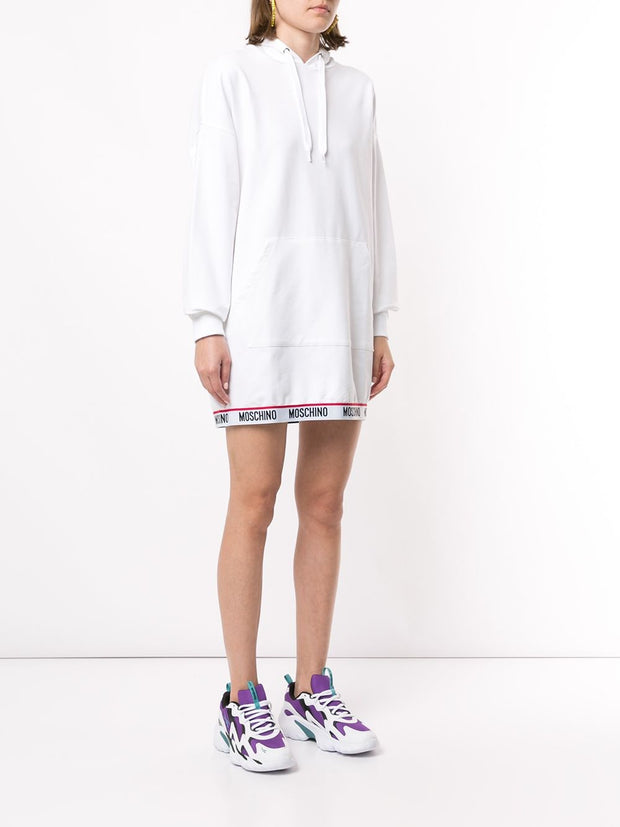 Moschino Logo Trim Hoodie Dress