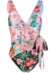 ZIMMERMANN Floral-print wrap swimsuit