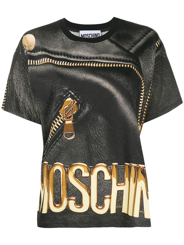Moschino leather-print T-shirt