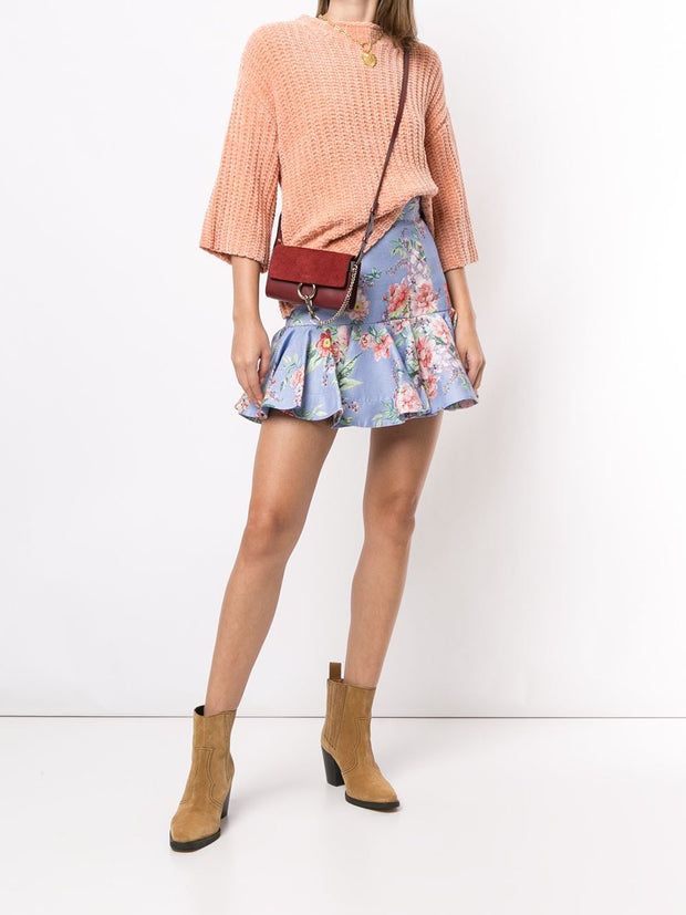 Zimmermann floral ruffle mini skirt