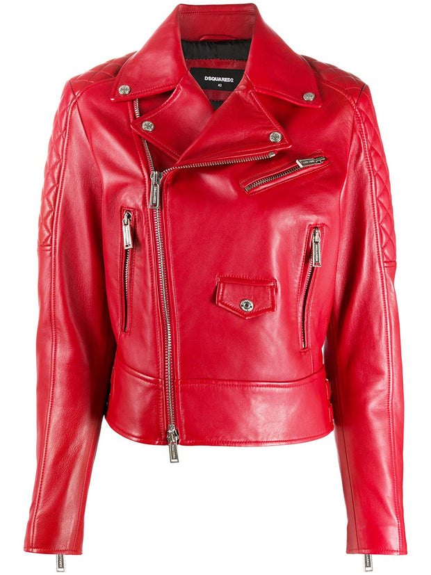 Dsquared2 quilted detail zip-up leather jacket