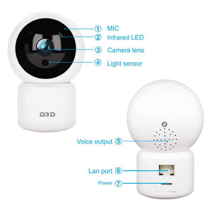 D3D wireless home security cctv camera with Sd card & cloud storage
