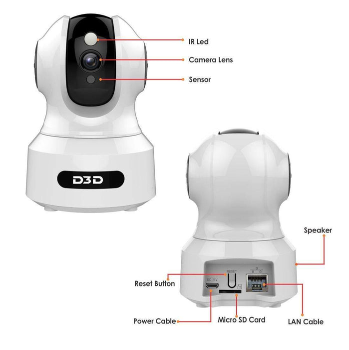 D3D alexa support wireless home security cctv camera with Sd card & cloud storage