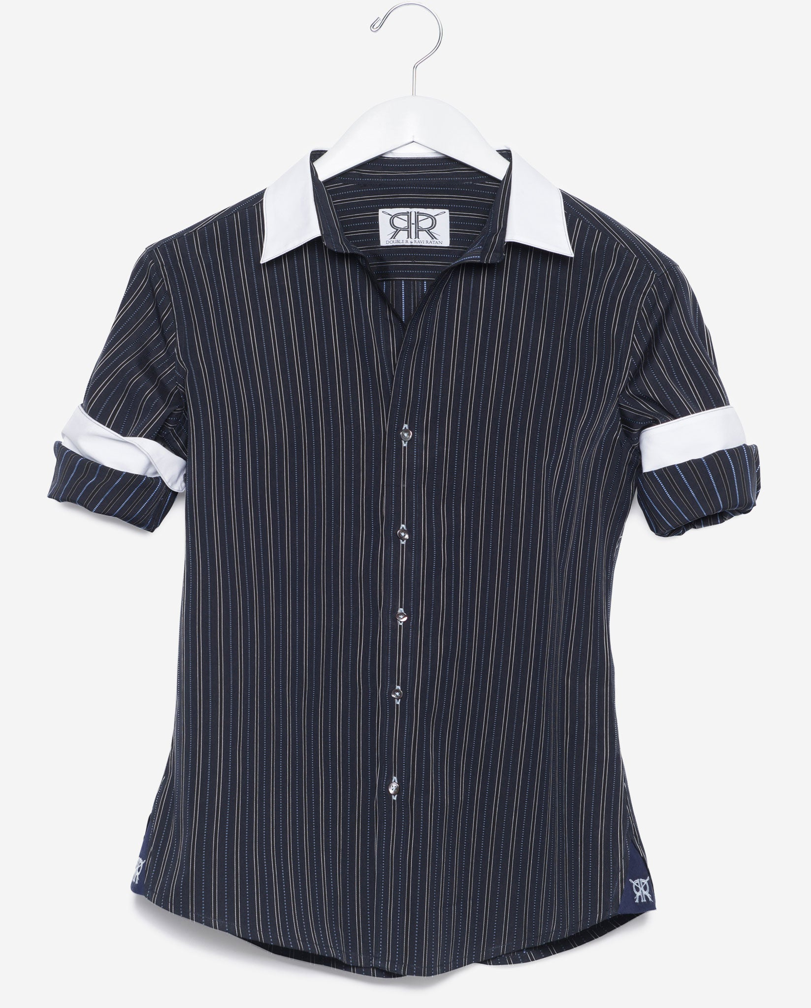 93eb39dfc1d16c Tailored Shirt- Navy Stripe with White Collar and Cuffs Women's ...