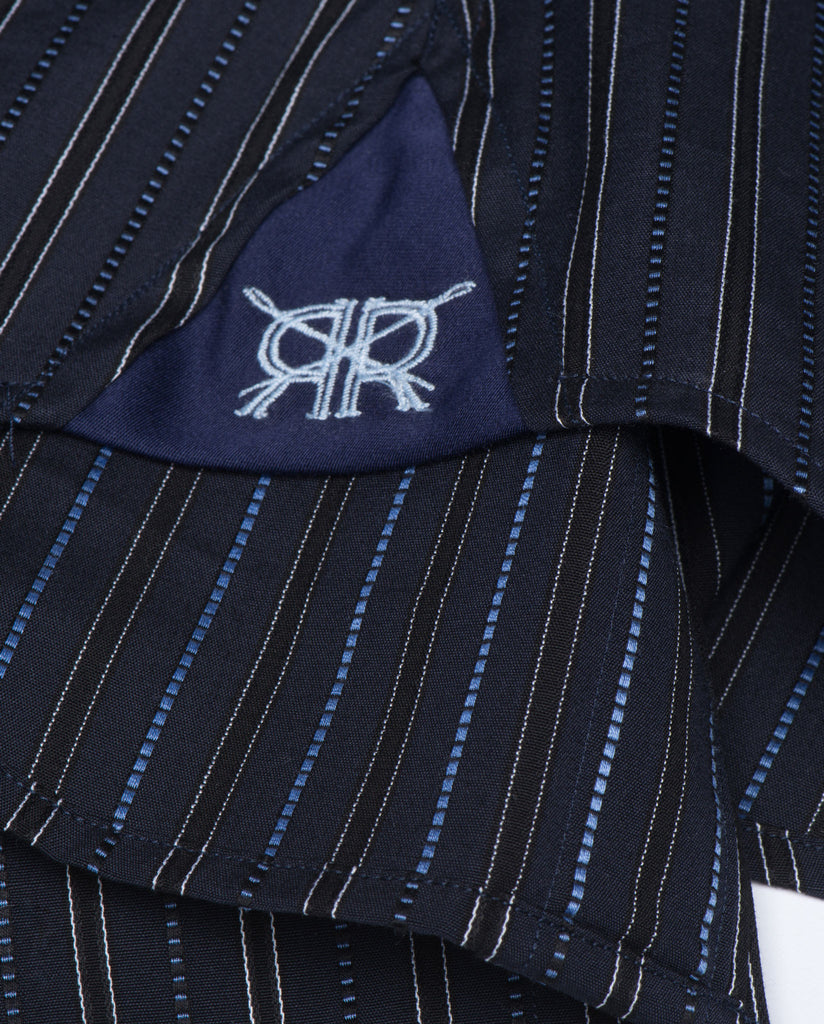 Tailored - Navy with Blue Stripes and White Collar and Cuffs