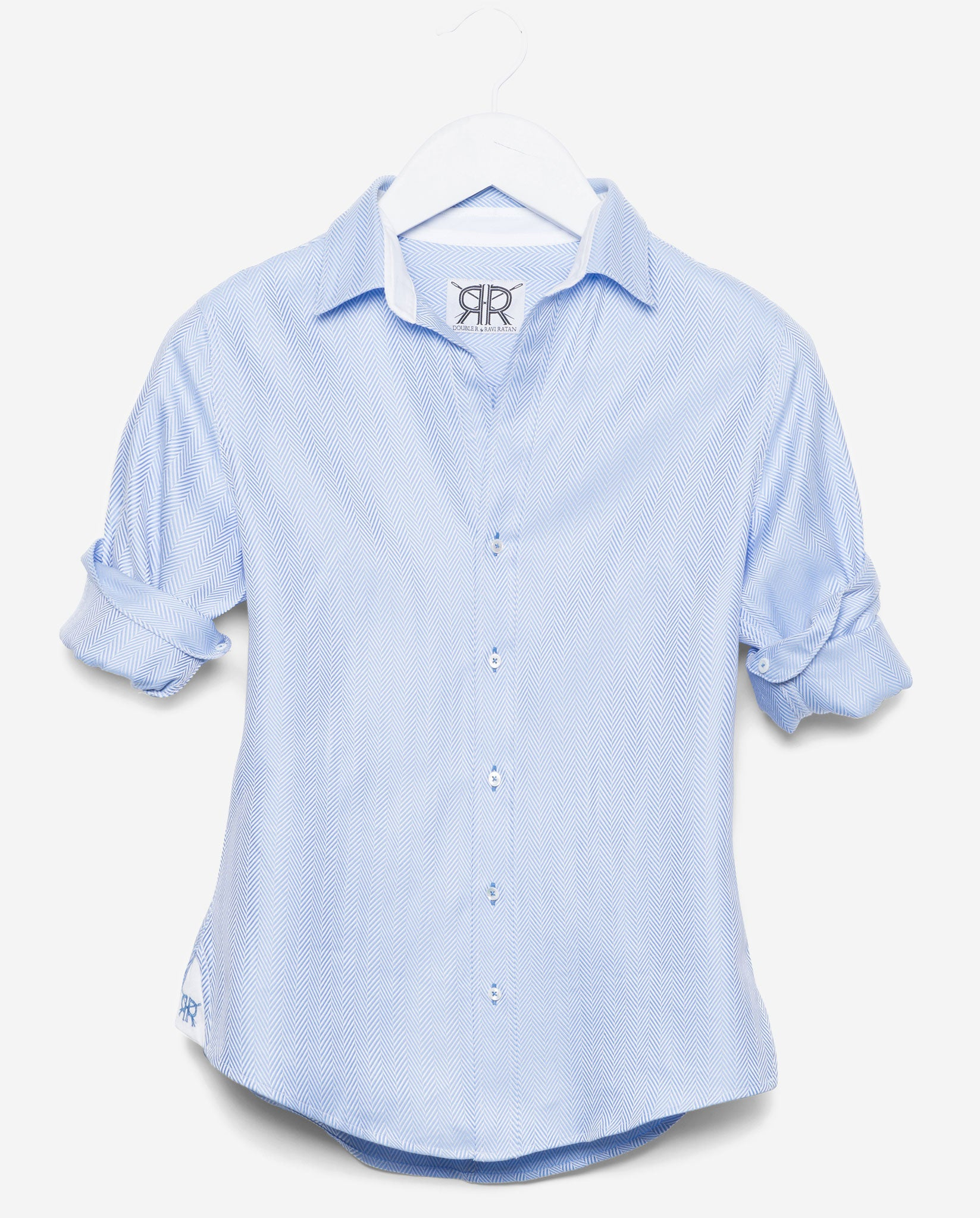 Tailored Shirt - Blue Herringbone Women's Button Down by Double R ...