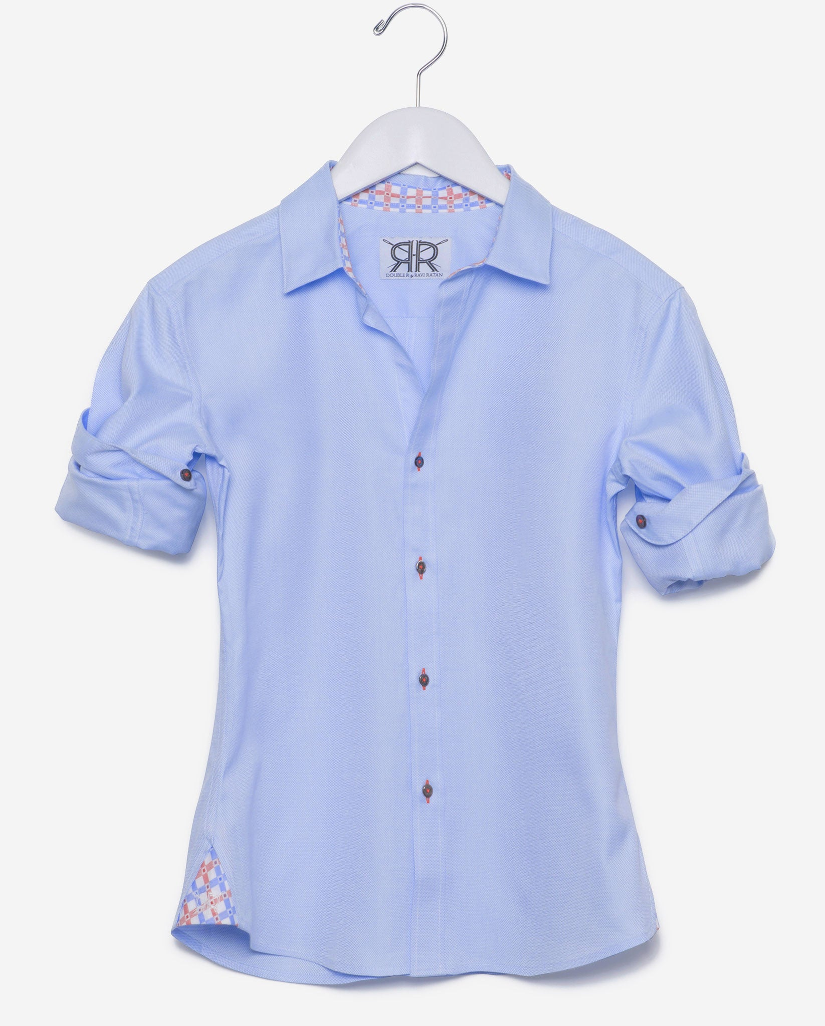 Tailored Shirt- Blue Oxford w/ Red/Blue Contrast Check Women's ...