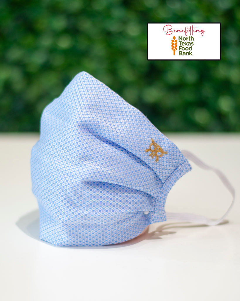 Baby Blue  Microcheck Cotton Mask