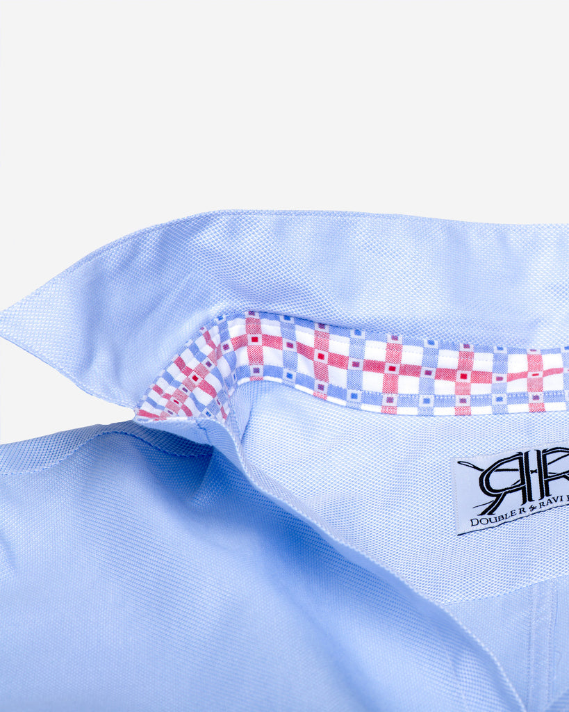 Tailored - Blue Oxford with Red/Blue Contrast Check