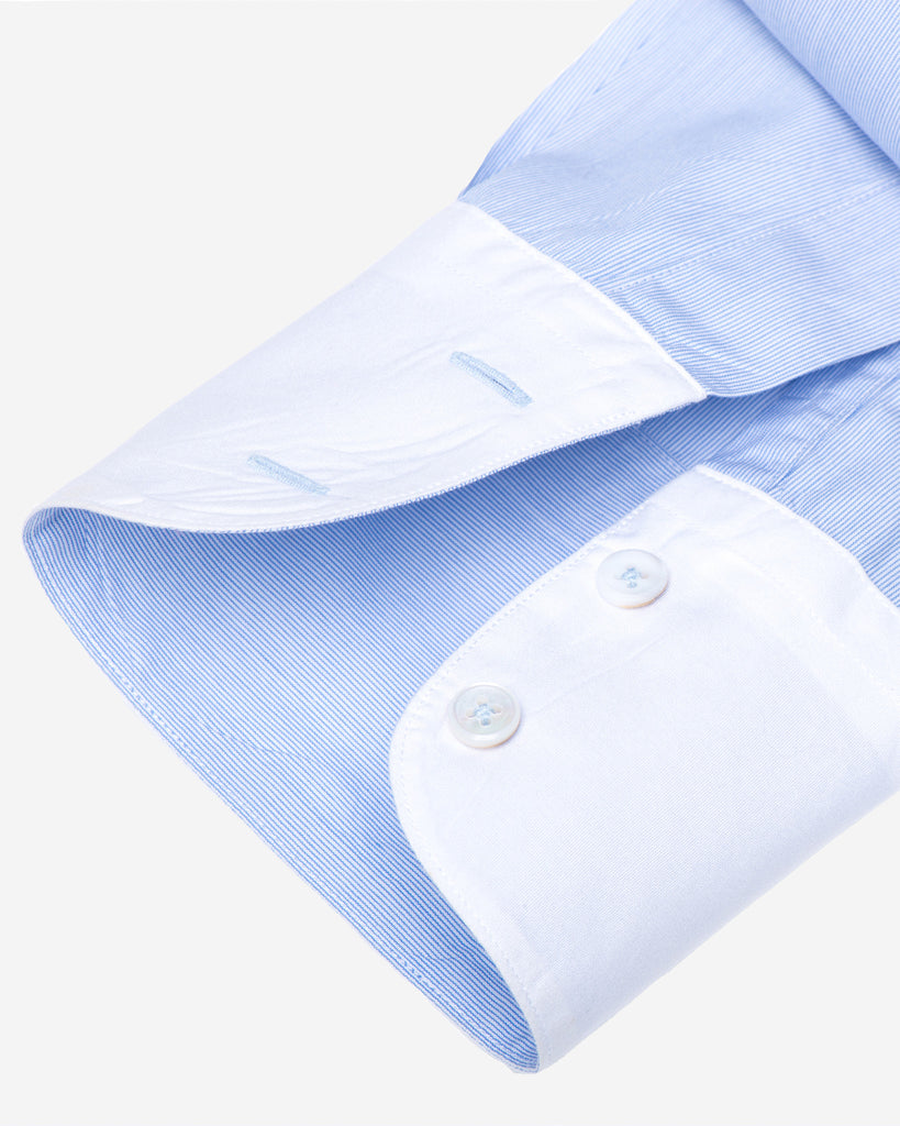 Tailored - Blue Hairline with White Collar and Cuffs