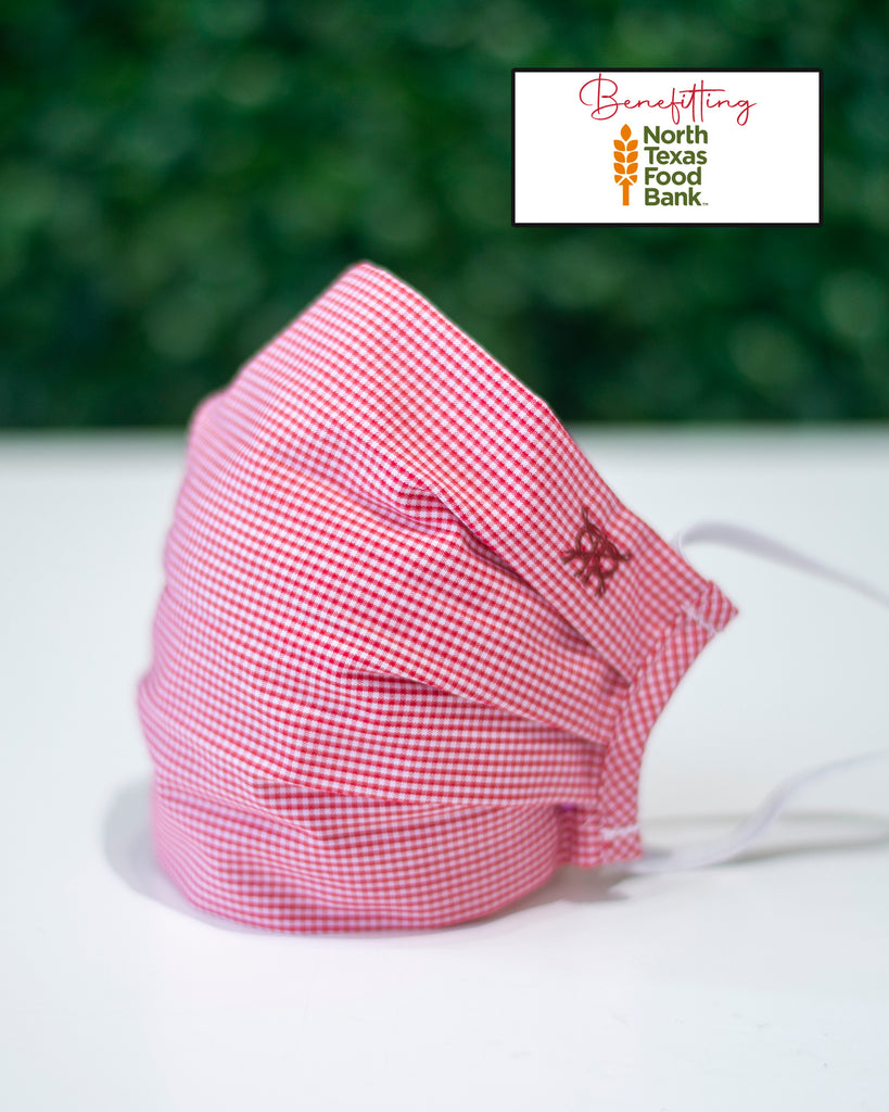 Crimson Gingham Cotton Mask