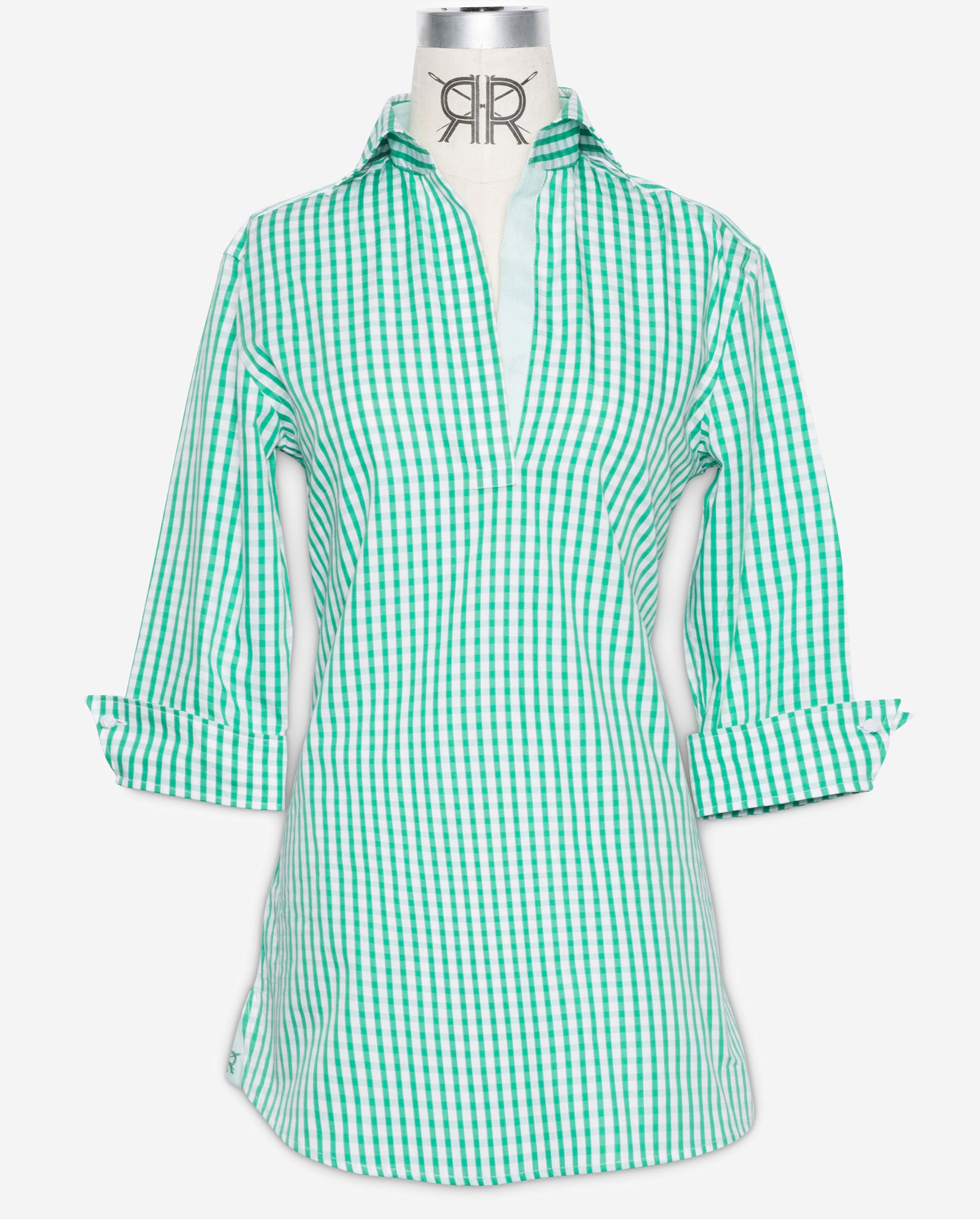 f7f25bf08e6 Tunic Pullover - Green Cotton Gingham women's tunic top by Double R ...