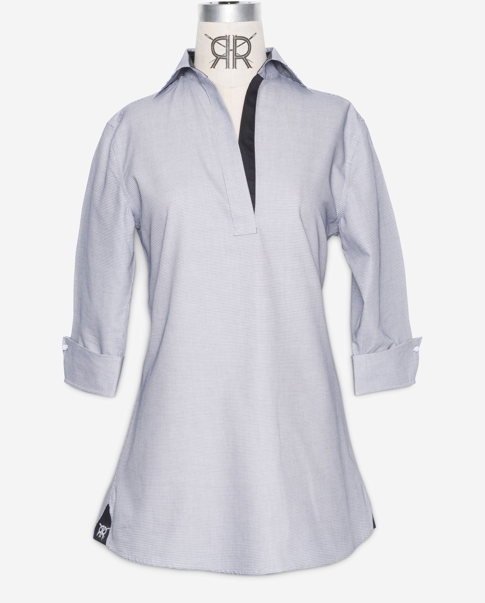 Tunic Shirt-White with Black Check Women's Popover Blouse by ...