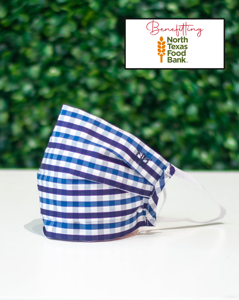 Double Blue Gingham Check Cotton Mask