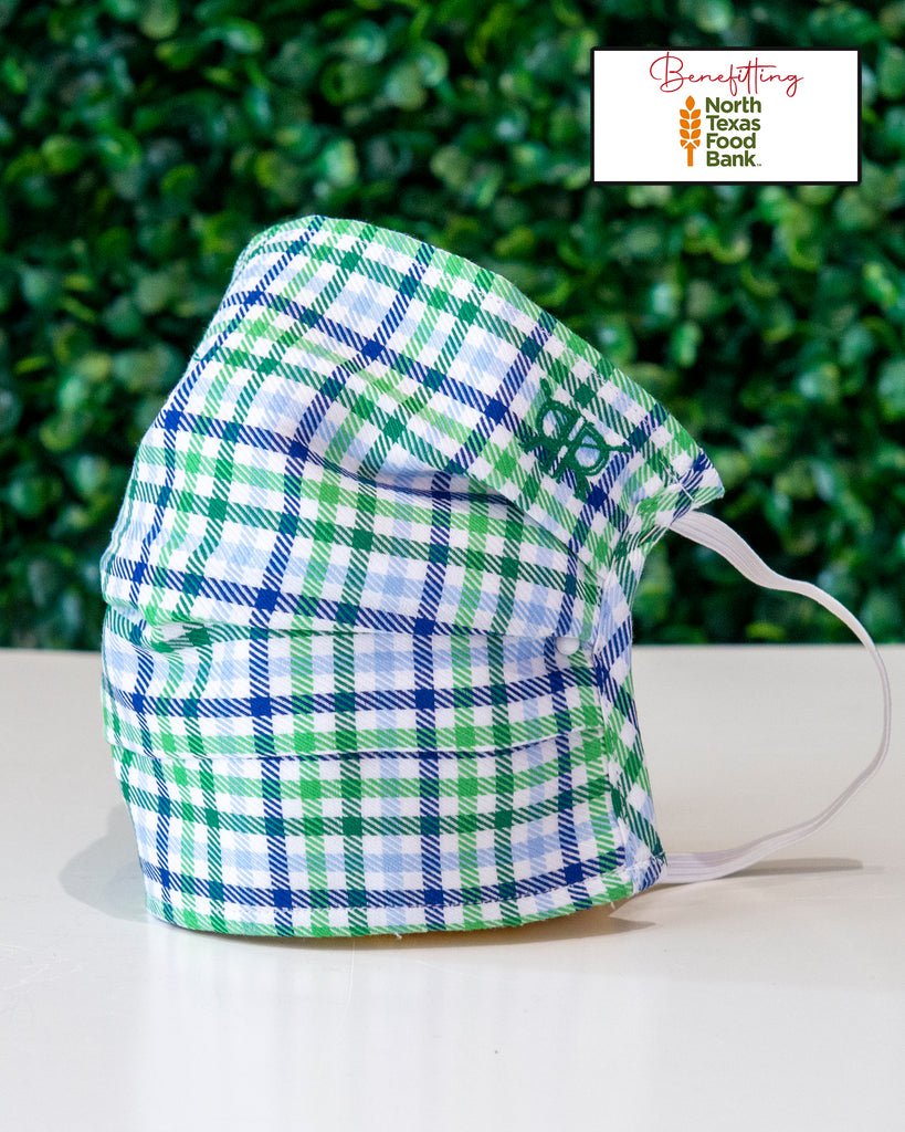 Green Blue Check Cotton Mask