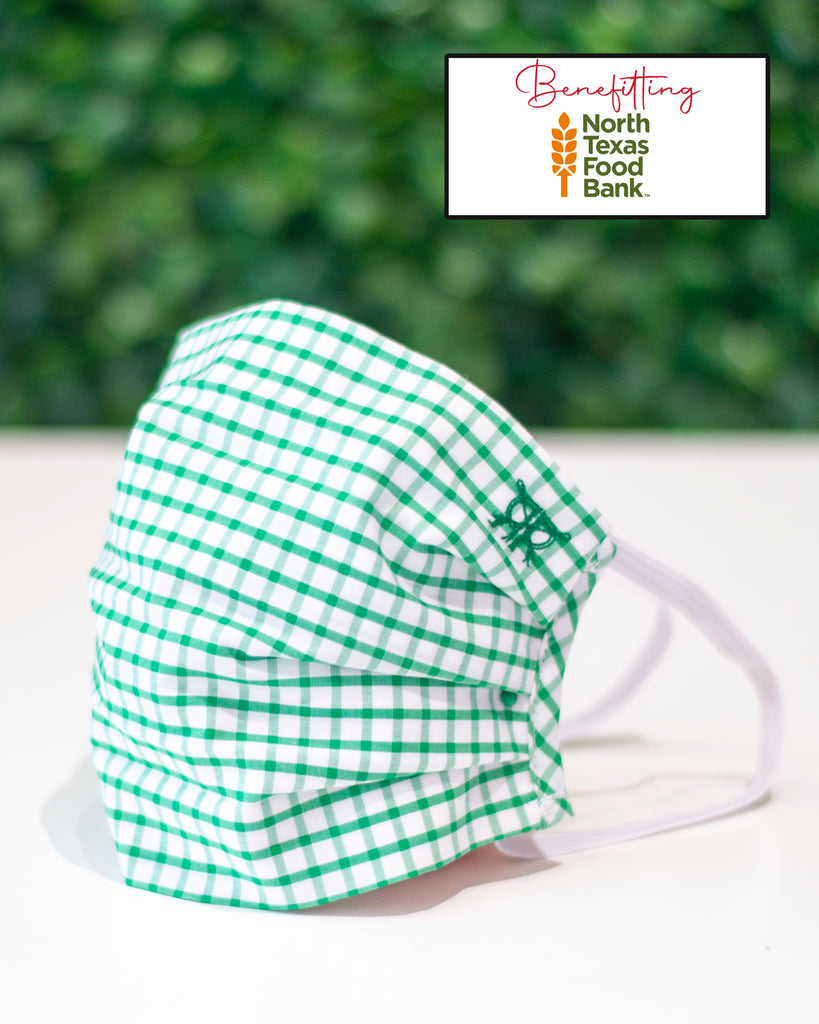 Green Gingham Check Cotton Mask