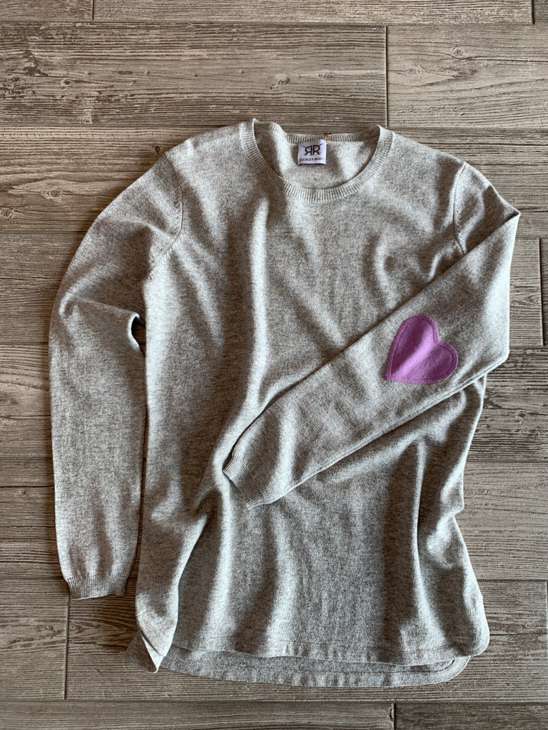 Scoop Hem Cashmere Sweater with Heart Elbow Patches - Light Grey/Lavender