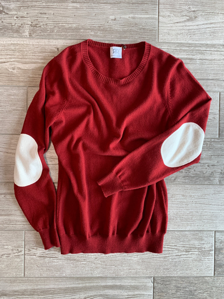 Crewneck Cashmere Sweater with Elbow Patches - Maroon/Ivory